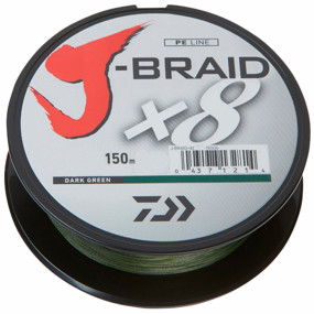 Шнур Daiwa J-Braid X8 150m Dark Green 0.1mm 13lb/6kg (арт.21352437)