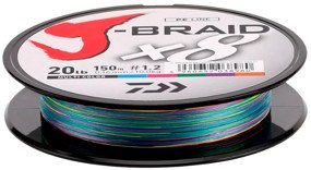 Шнур Daiwa J-Braid X8 150m Multi Color 0.16mm 20lb/9kg (арт.21352443)