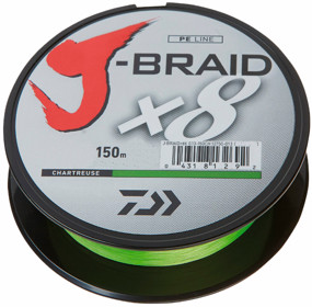 Шнур Daiwa J-Braid X8 150m Chartreuse 0.16mm 20lb/9kg (арт.21352444)