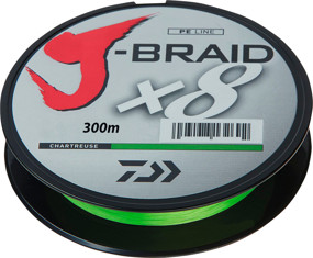 Шнур Daiwa J-Braid X8 300m Chartreuse 0.42mm 103lb/46.5kg (арт.21352447)