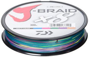 Шнур Daiwa J-Braid X8 300m Multi Color 0.42mm 103lb/46.5kg (арт.21352449)