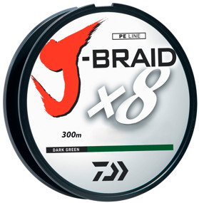 Шнур Daiwa J-Braid X8 300m Dark Green 0.55mm 120lb/54.4kg (арт.21352450)